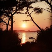 A beautiful sunset on porquerolles island